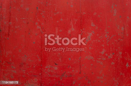 Distressed, dust, and weathered red metal background and texture with copy space