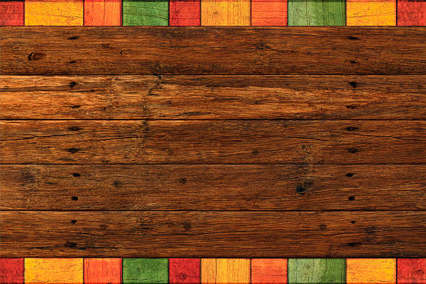 Vibrant Rustic Mexican Colored Border Dark Wood Background Rustic dark wood planks with vibrant colored borders for Mexican style backgrounds mexican culture stock pictures, royalty-free photos & images