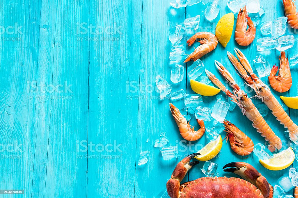 Vibrant sea food background stock photo