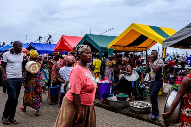 Vibrant Sekondi fish market stock photo