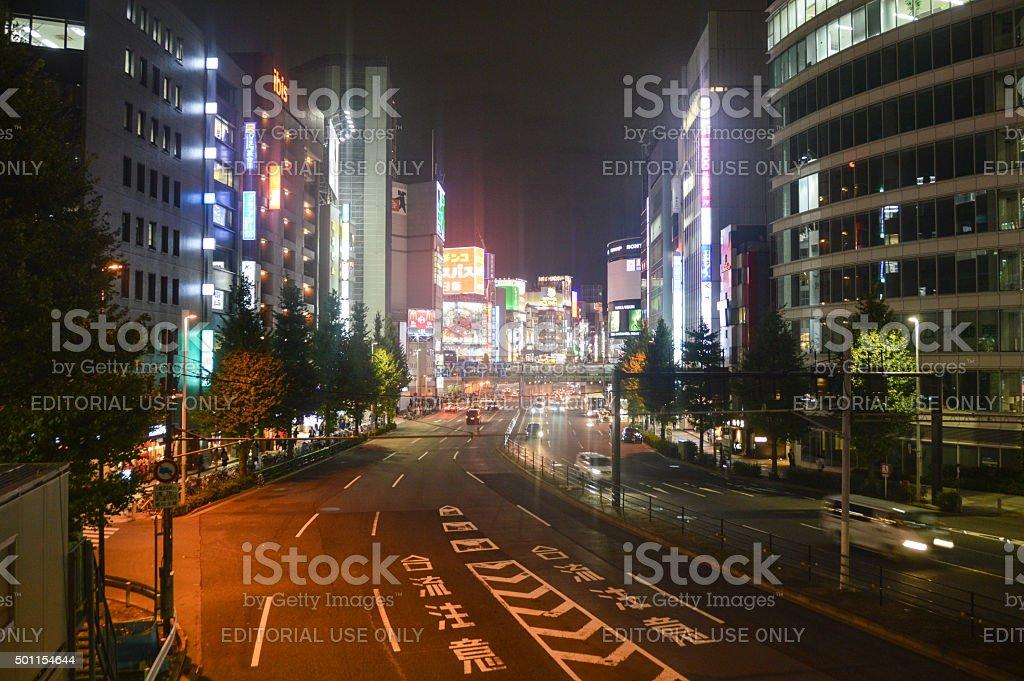 Vibrant Shinjuku District in Tokyo, Japan stock photo