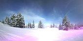 Vibrant snowy scenery