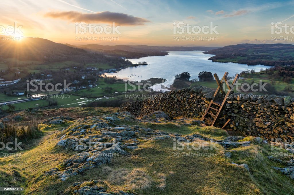 Vibrant Sunrise At Todd Cragg In Lake District. stock photo