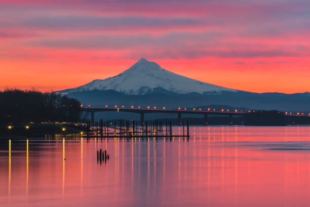 Vibrant sunrise over Mt Hood and the Columbia River stock photo