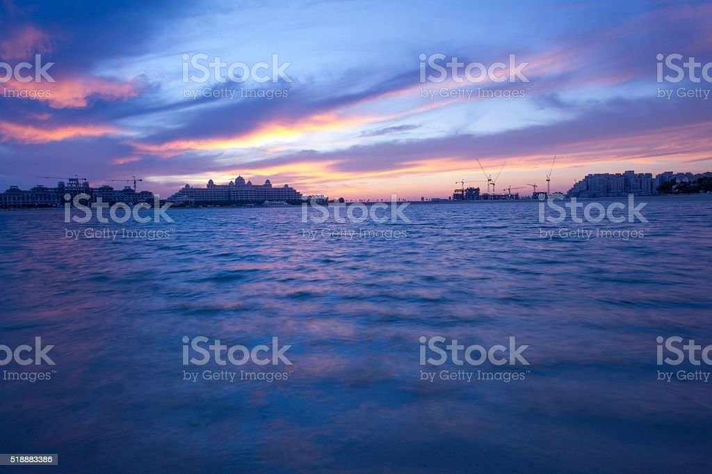 Vibrant Sunset By The Beach stock photo