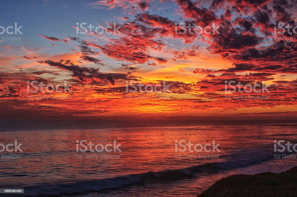 Vibrant Sunset Over Pacific Ocean stock photo