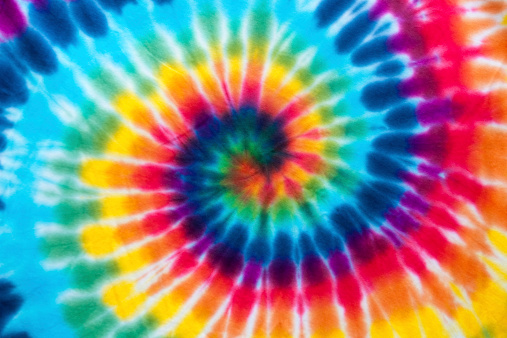 Full frame multi coloured tie dyed fabric
