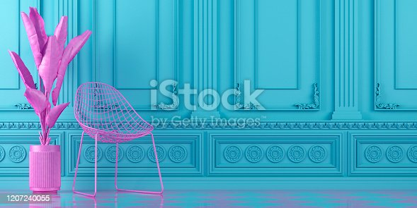 vibrant turquoise blue interior design background with pink chair and plant on a molding classic wall, 3d render