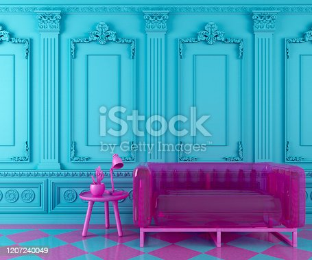 vibrant turquoise blue interior design background with pink modern transparent couch and cofee table with decoration on a molding classic wall, 3d render