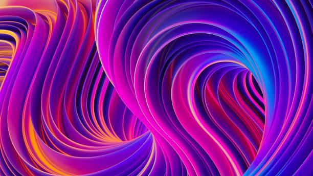 Vibrants formes tordues dans motion 3D liquide ultra violet abstrait - Photo