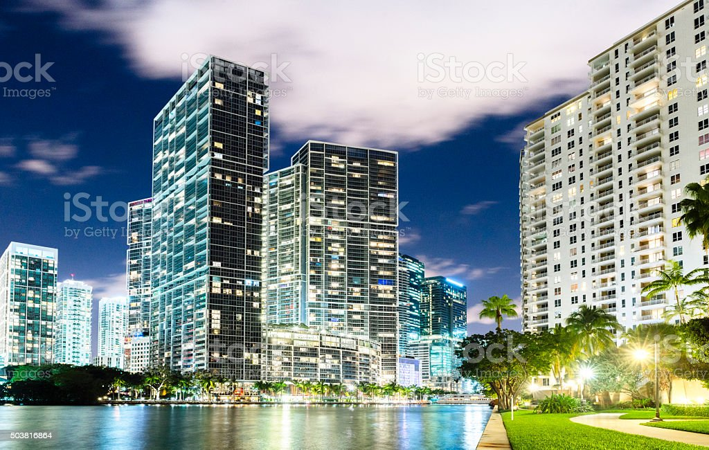 Vibrant Urban Downtown Miami Skyline Cityscape Brickell Buildings at Night stock photo