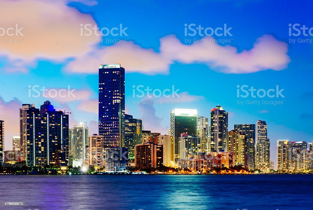 Vibrant Urban Downtown Miami Skyline Cityscape Buildings View After Sunset Royalty Free Stock Photo