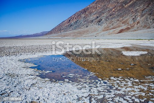 Vibrant view of Badwater basin, endorheic basin in Death Valley National Park, Death Valley, Inyo County California, USA