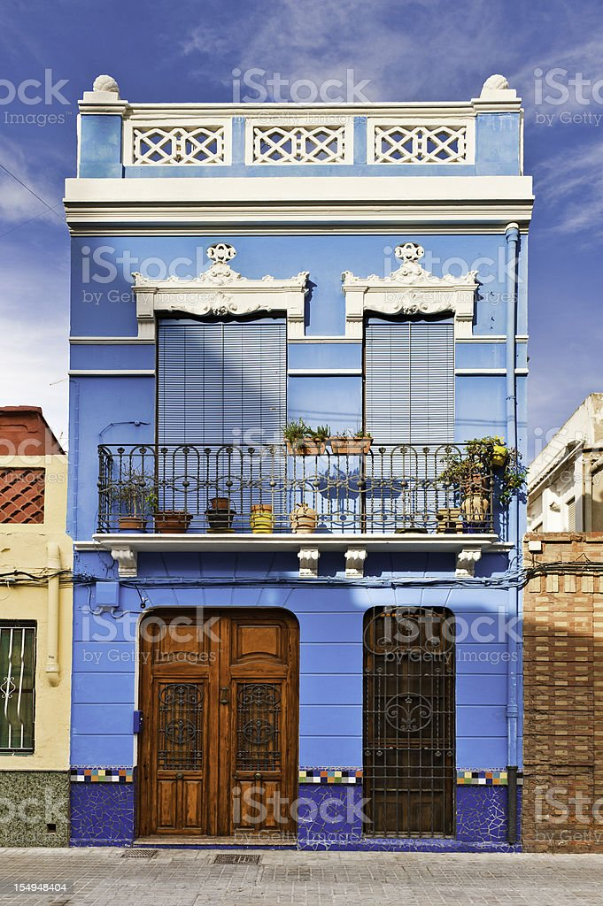 Vibrant villa colorful Art Nouveau house Valencia Spain royalty-free stock photo