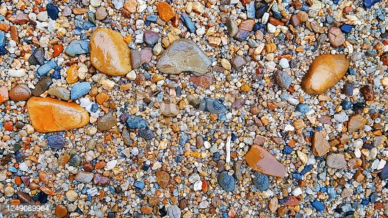 vibrant water stone on ground surface pattern for background texture