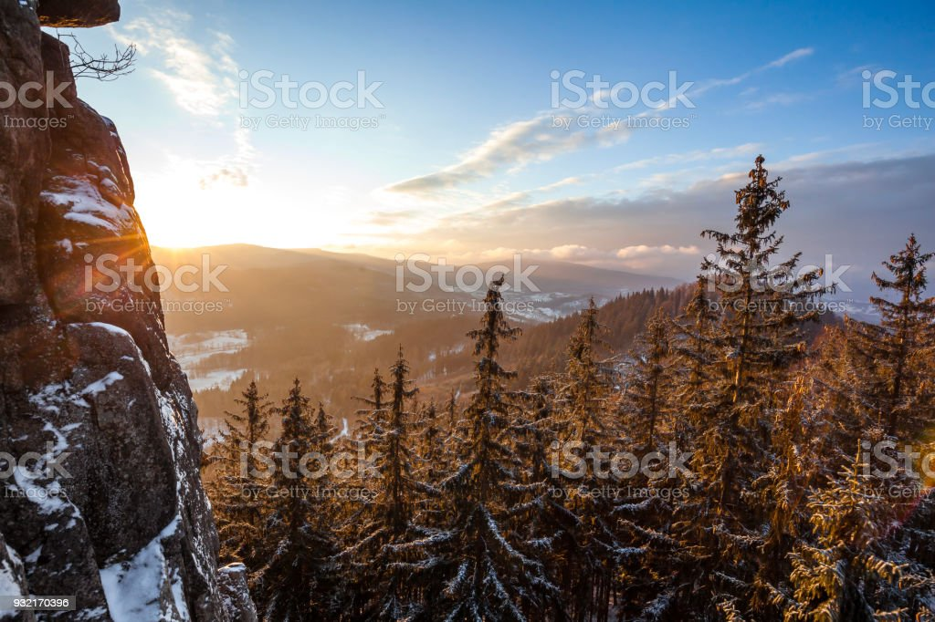 Vibrant winter sunrise in the mountains stock photo