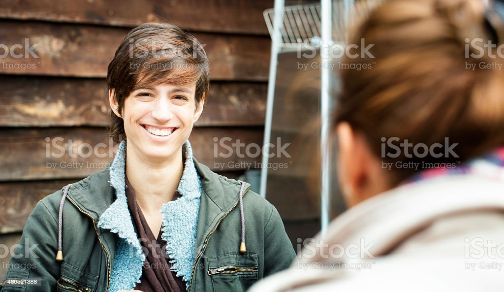 Vibrant young woman portrait in Autumn outdoors stock photo