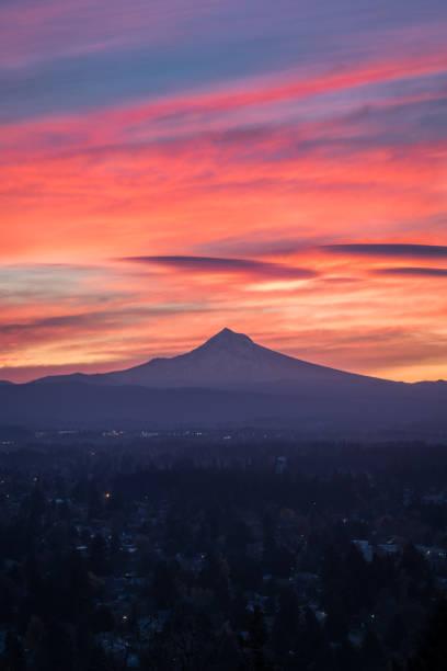 Vibrantly colorful sunrise over Mt Hood in Portland Oregon stock photo
