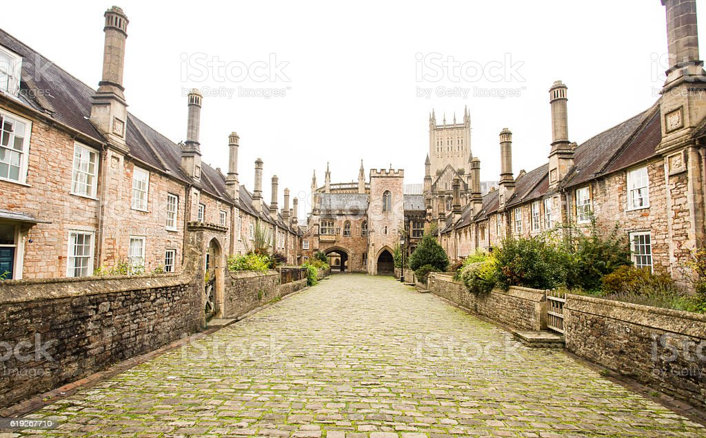 Vicar's close in Wells somerset. stock photo