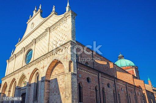 istock Vicenza Cathedral Cattedrale di Santa Maria Annunziata Roman Catholic church building in Piazza del Duomo square, old historical city centre of Vicenza city, blue sky background, Veneto region, Italy 1217248619