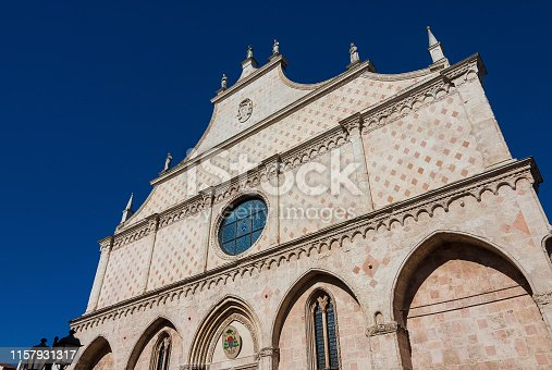 Beautiful Vicenza Cathedral ornate italian gothic facade, completed in 1467