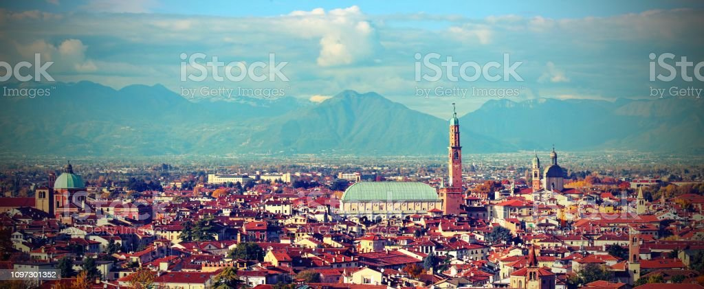 Vicenza City in Italy with old vintage toned effect and the monument called Palladian Basilica - foto stock