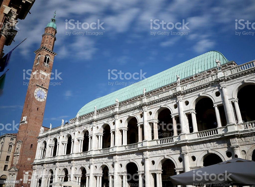 Vicenza, Italy. Ancient Tower of monument called Basilica Pallad stock photo