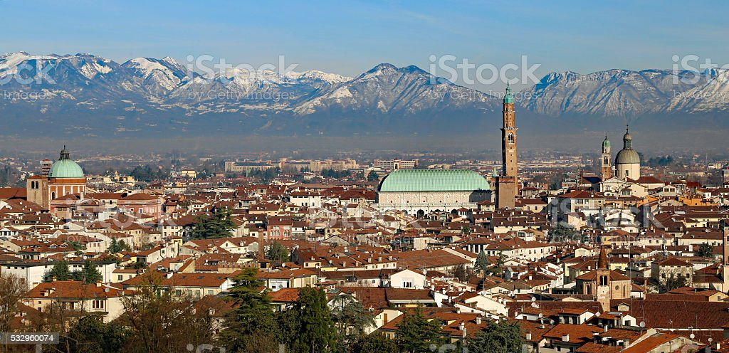 Vicenza, Italy, panorama with Basilica Palladiana and many house stock photo