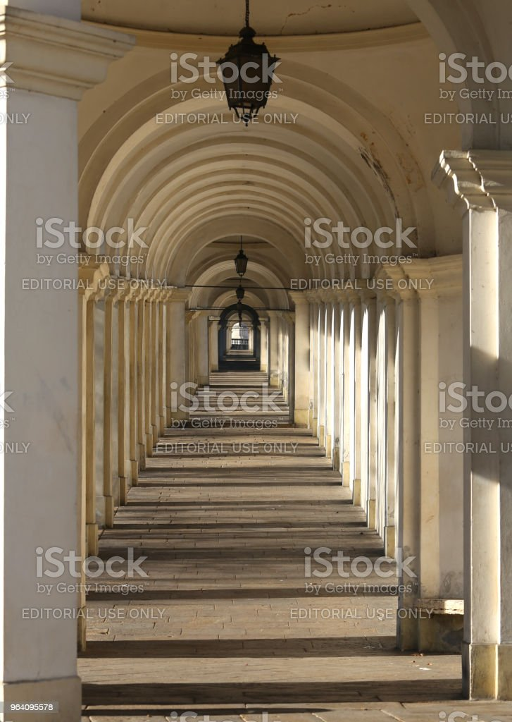 Vicenza Italy the long porch that never seems to end that leads - Royalty-free Arcade Stock Photo