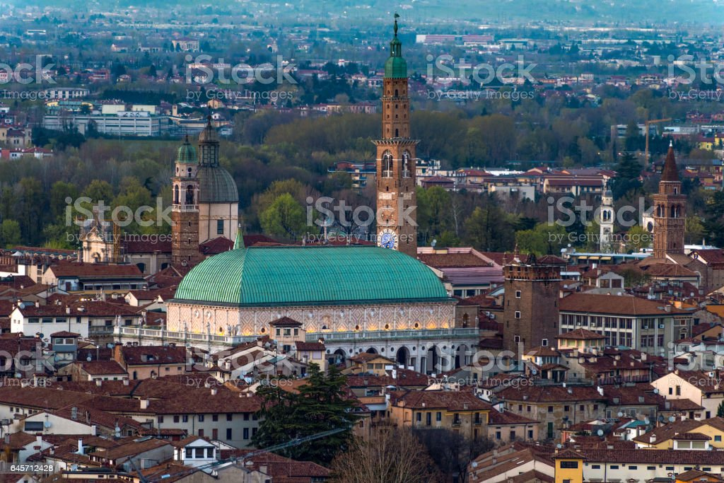 Vicenza,basilica Palladiana,panorama stock photo