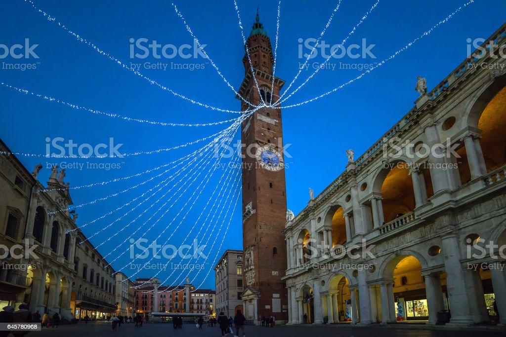 Vicenza,piazza dei Signori,ora blu - foto stock