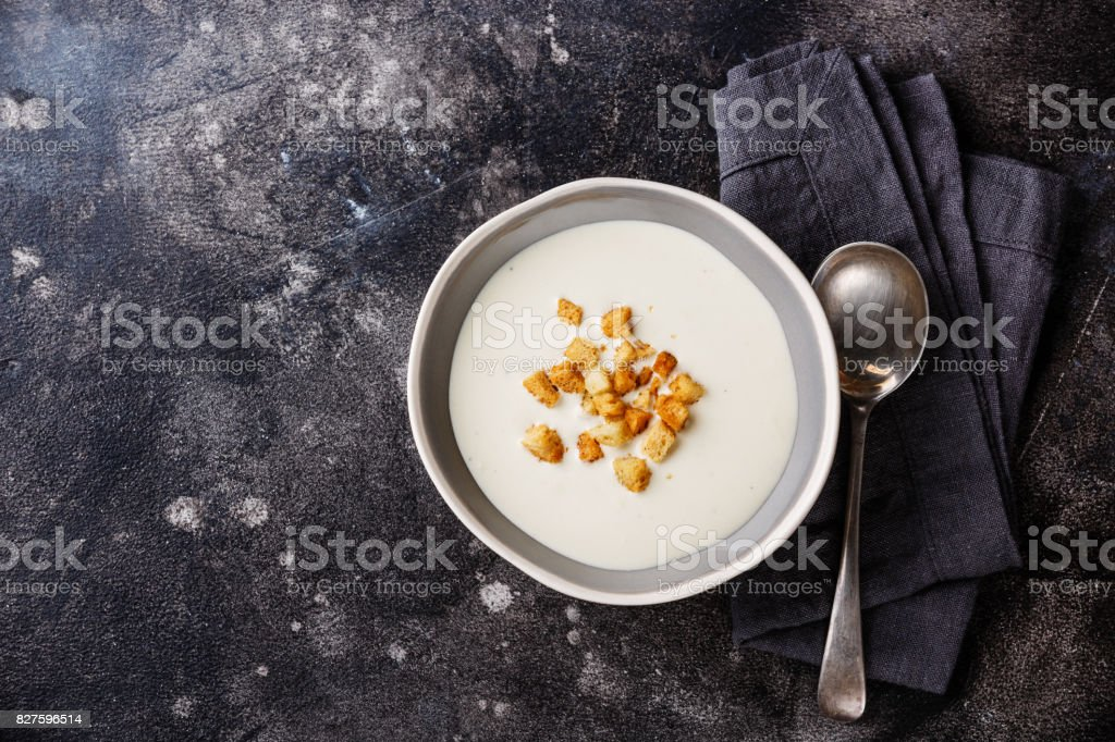 Vichyssoise soup with croutons stock photo