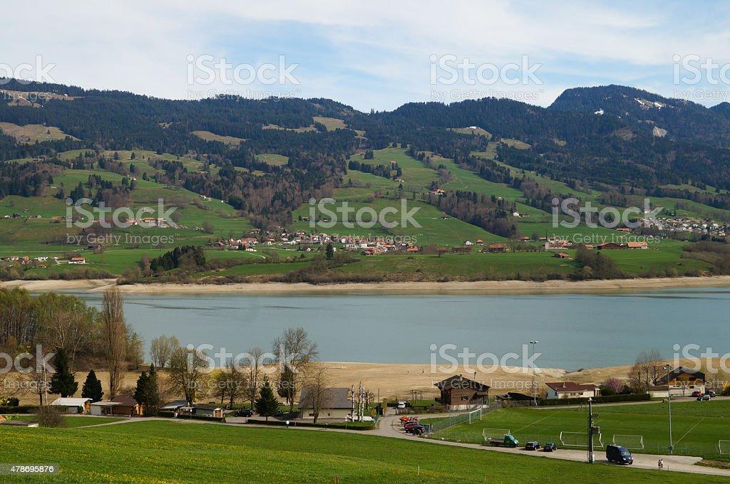 Vicinity of the village Gruyeres in Switzerland stock photo