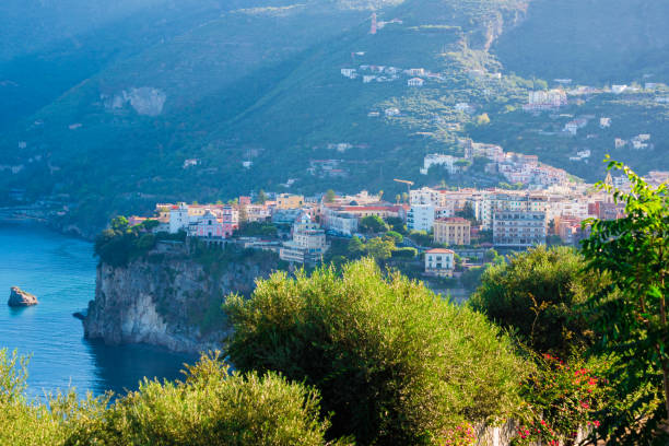 Vico Equense (gulf of Naples, Italy) A touristic town on the sea in southern Italy, Campania region tuff stock pictures, royalty-free photos & images