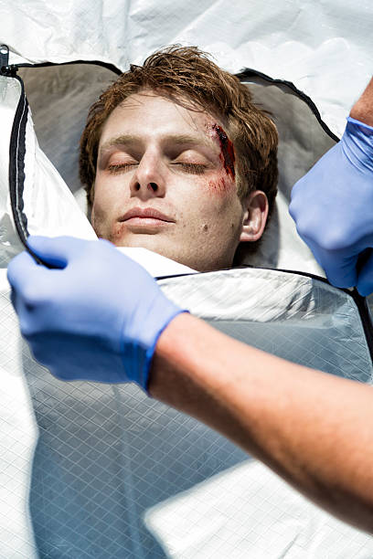 Victim in a Body Bag stock photo