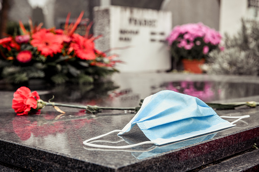 Surgical mask on tombstone. RIP victim of Coronavirus.