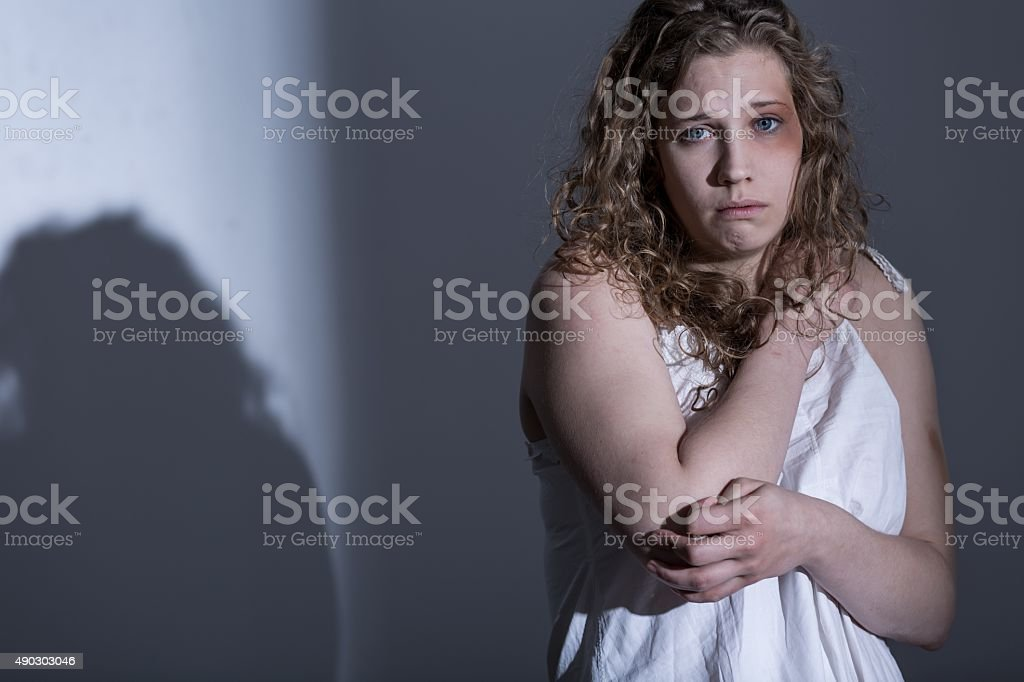 Victim of sexual abuse stock photo