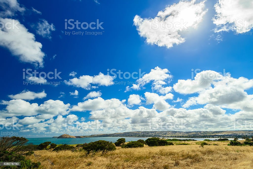 Victor Harbor view with dramatic clouds and sun stock photo