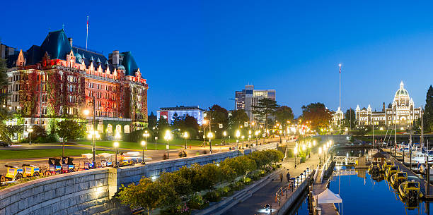 victoria bc at night - british columbia stock pictures, royalty-free photos & images