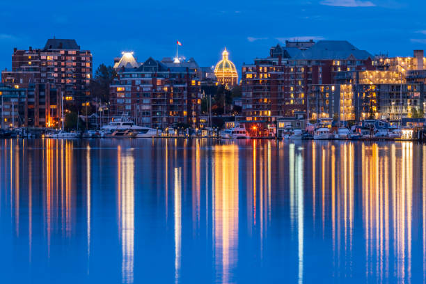 victoria bc skyline at night - british columbia stock pictures, royalty-free photos & images