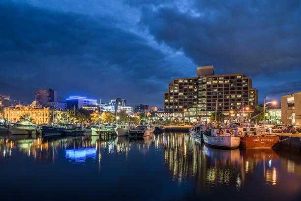 victoria dock hobart city waterfront tasmania australia - tasmania stock photos and pictures