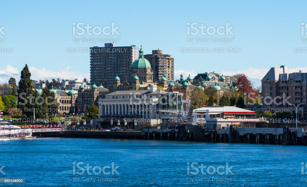 Victoria Dowtown as seen from Inner Harbour stock photo