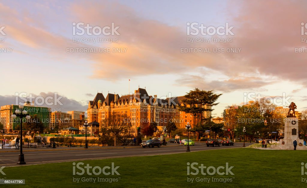 Victoria Dowtown at Sunset stock photo