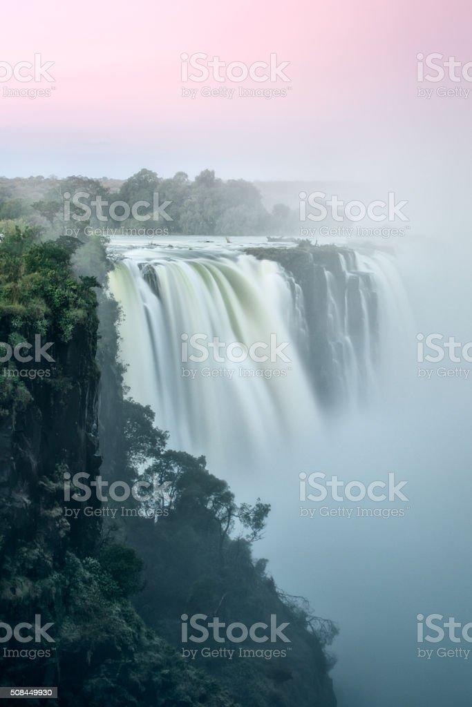 Victoria falls at dusk stock photo