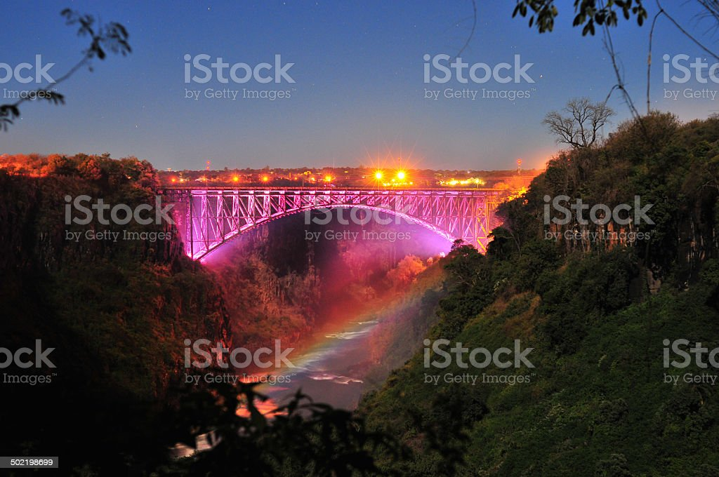 Victoria Falls Bridge in pink stock photo