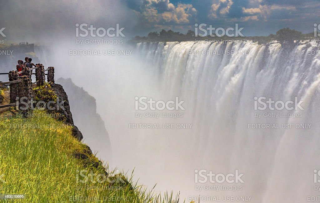 Victoria Falls from Viewpoint in Mosi-Oa-Tunya National Park stock photo