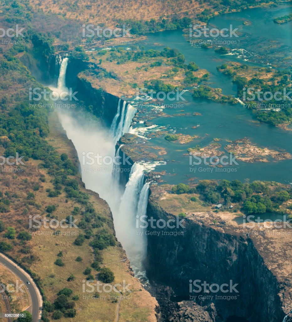 Victoria Falls In Zimbabwe At Drought Aerial Shot Stock