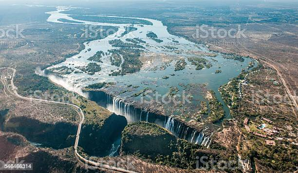 Photo of Victoria falls on helicopter.