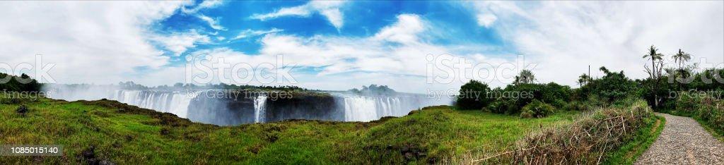 Victoria Falls on the Zimbabwean side stock photo