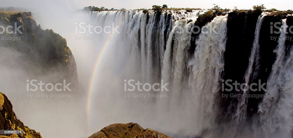 Victoria Falls Rainbow stock photo